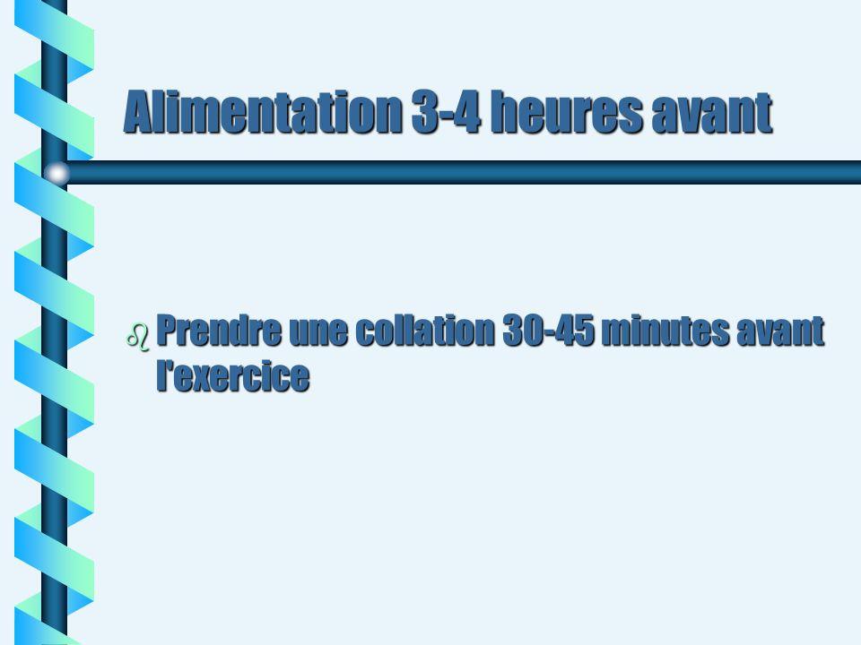 Alimentation 3-4 heures avant b Prendre une collation 30-45 minutes avant l'exercice