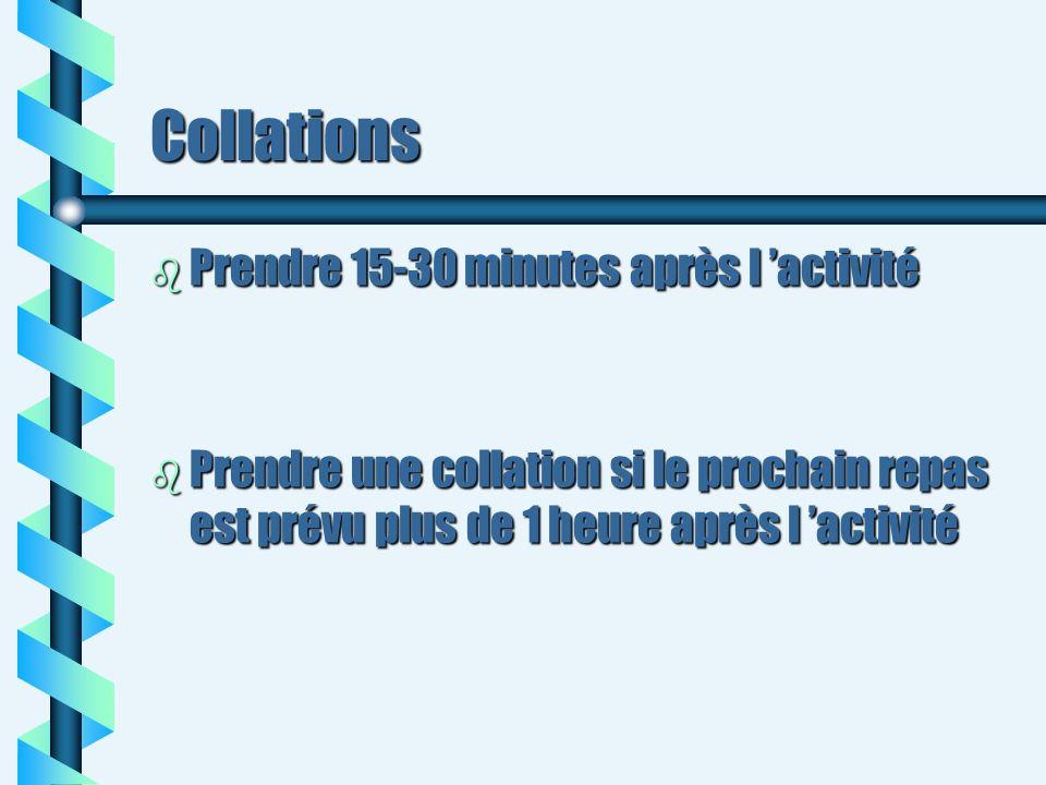 Collations b Prendre 15-30 minutes après l activité b Prendre une collation si le prochain repas est prévu plus de 1 heure après l activité