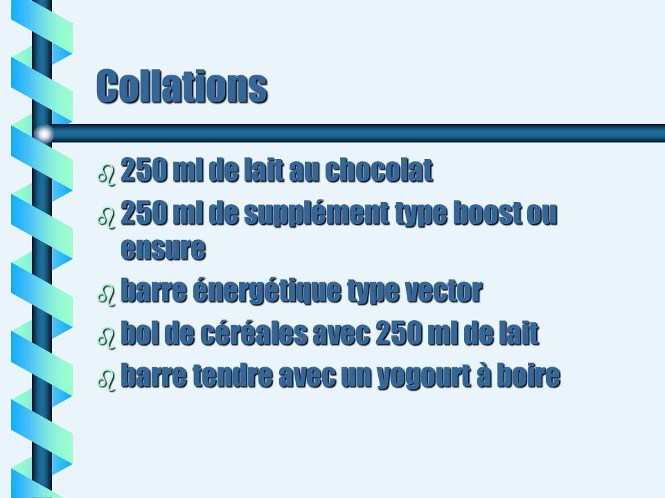 Collations b 250 ml de lait au chocolat b 250 ml de supplément type boost ou ensure b barre énergétique type vector b bol de céréales avec 250 ml de l