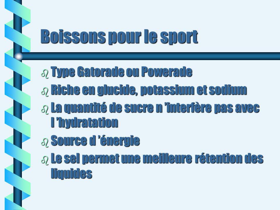 Boissons pour le sport b Type Gatorade ou Powerade b Riche en glucide, potassium et sodium b La quantité de sucre n interfère pas avec l hydratation b