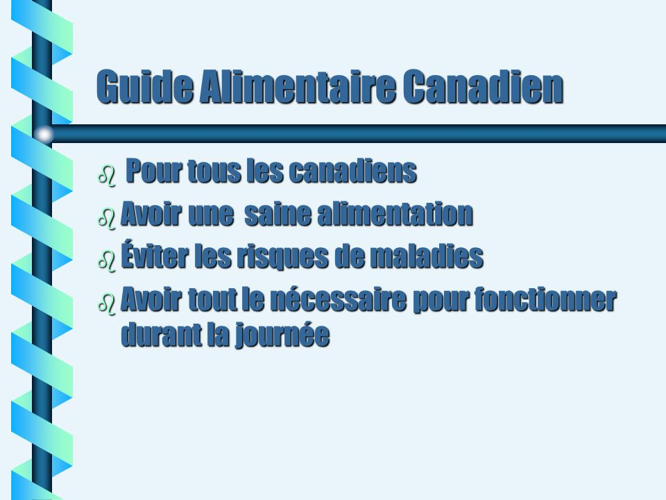 Guide Alimentaire Canadien b Pour tous les canadiens b Avoir une saine alimentation b Éviter les risques de maladies b Avoir tout le nécessaire pour f