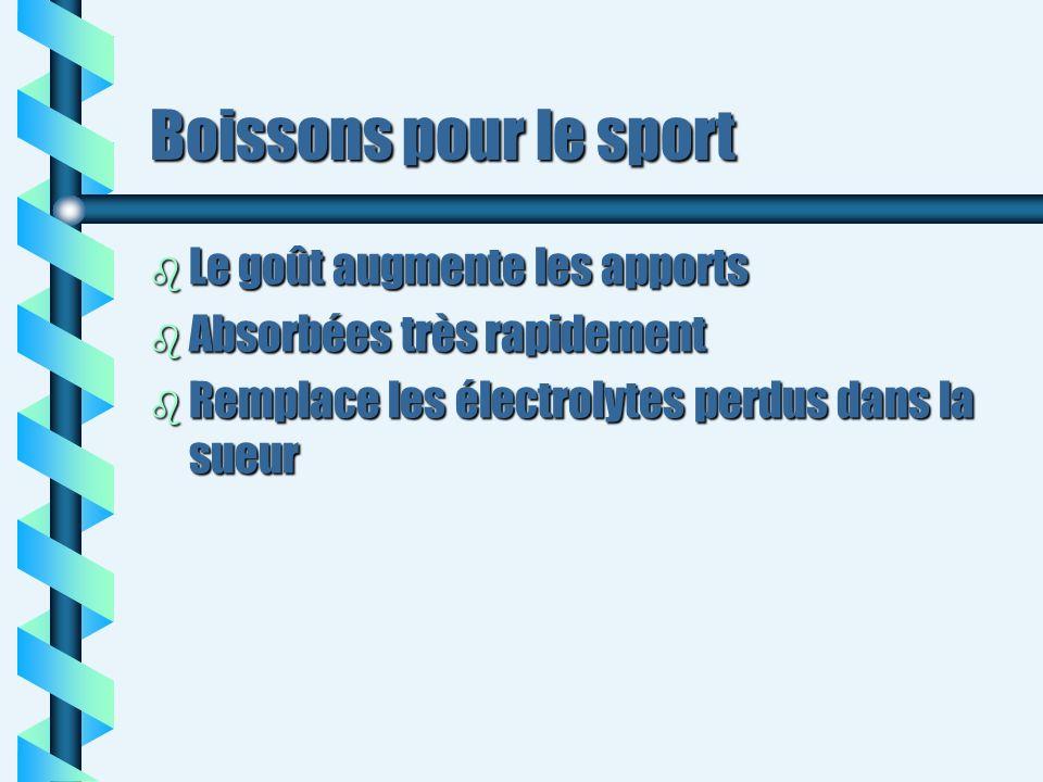 Boissons pour le sport b Le goût augmente les apports b Absorbées très rapidement b Remplace les électrolytes perdus dans la sueur
