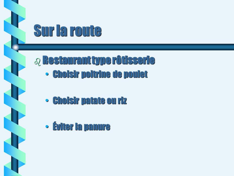 Sur la route b Restaurant type rôtisserie Choisir poitrine de pouletChoisir poitrine de poulet Choisir patate ou rizChoisir patate ou riz Éviter la pa
