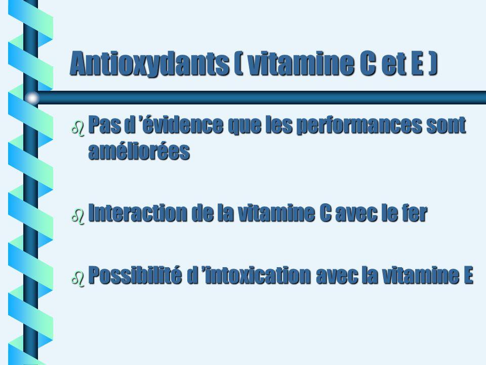 Antioxydants ( vitamine C et E ) b Pas d évidence que les performances sont améliorées b Interaction de la vitamine C avec le fer b Possibilité d into