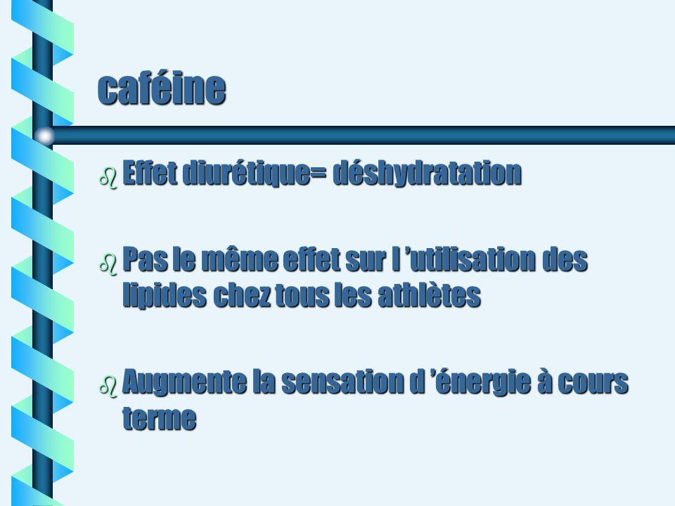 caféine b Effet diurétique= déshydratation b Pas le même effet sur l utilisation des lipides chez tous les athlètes b Augmente la sensation d énergie