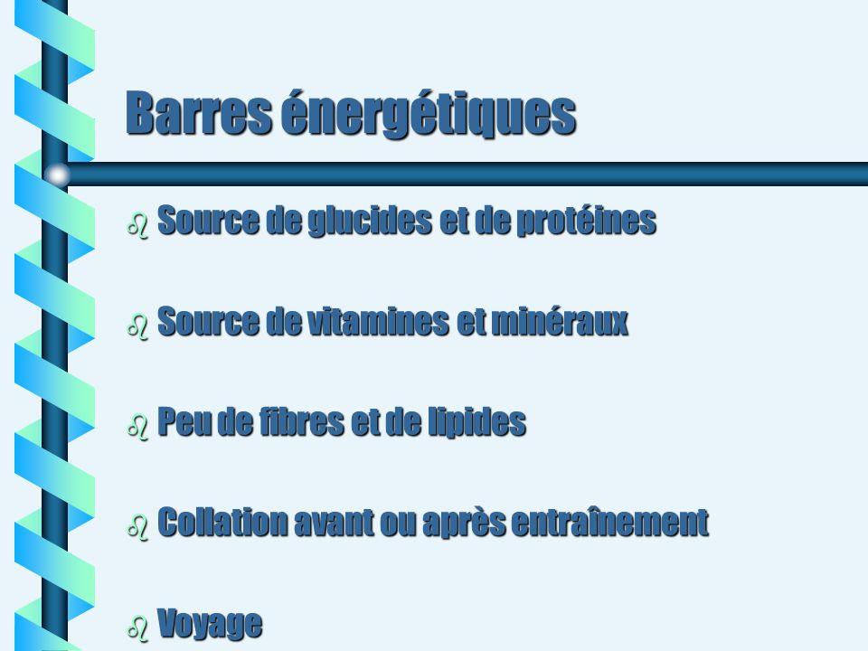 Barres énergétiques b Source de glucides et de protéines b Source de vitamines et minéraux b Peu de fibres et de lipides b Collation avant ou après en