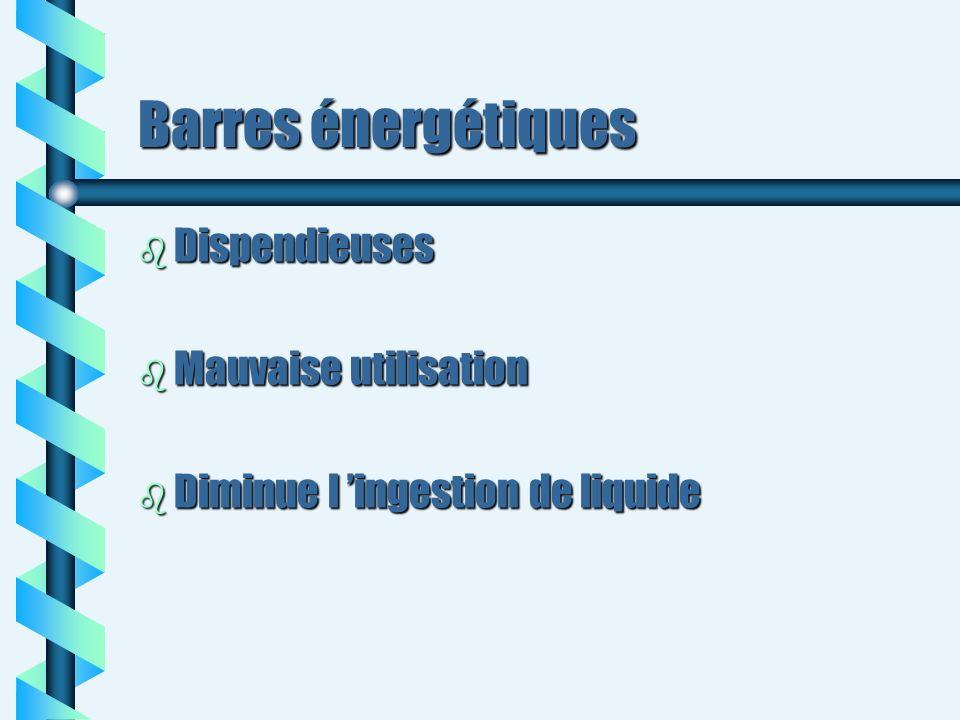 Barres énergétiques b Dispendieuses b Mauvaise utilisation b Diminue l ingestion de liquide