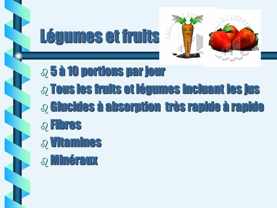 Légumes et fruits b 5 à 10 portions par jour b Tous les fruits et légumes incluant les jus b Glucides à absorption très rapide à rapide b Fibres b Vit
