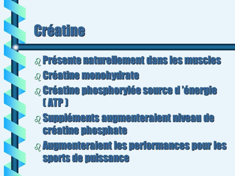 Créatine b Présente naturellement dans les muscles b Créatine monohydrate b Créatine phosphorylée source d énergie ( ATP ) b Suppléments augmenteraien