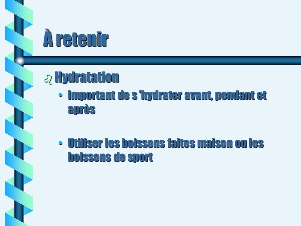 À retenir b Hydratation Important de s hydrater avant, pendant et aprèsImportant de s hydrater avant, pendant et après Utiliser les boissons faites ma