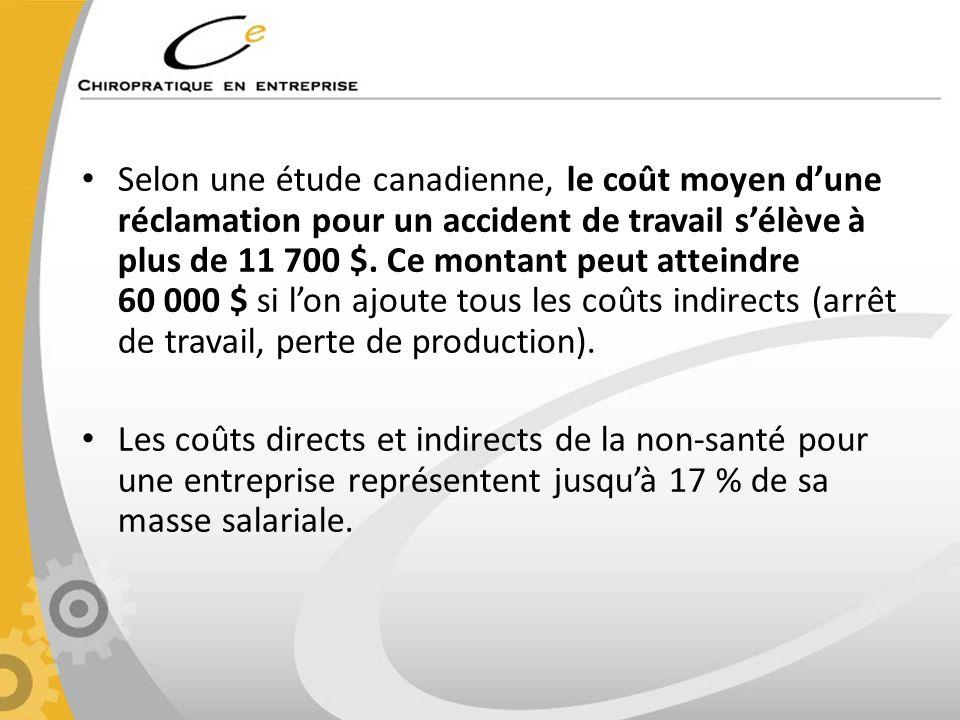 Selon une étude canadienne, le coût moyen dune réclamation pour un accident de travail sélève à plus de 11 700 $. Ce montant peut atteindre 60 000 $ s