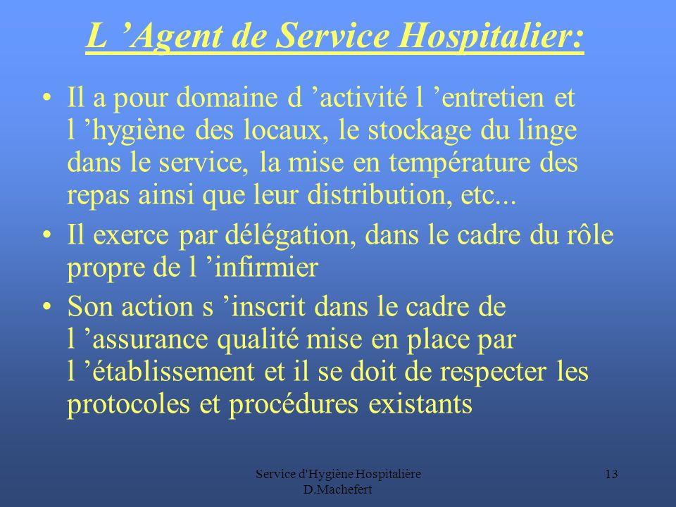 Service d Hygiène Hospitalière D.Machefert 13 L Agent de Service Hospitalier: Il a pour domaine d activité l entretien et l hygiène des locaux, le stockage du linge dans le service, la mise en température des repas ainsi que leur distribution, etc...