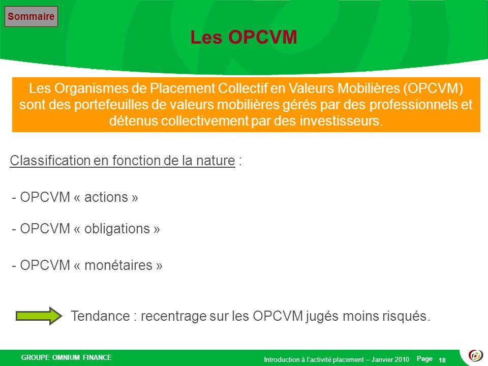 GROUPE OMNIUM FINANCE Introduction à lactivité placement – Janvier 2010 Page 18 Les OPCVM Les Organismes de Placement Collectif en Valeurs Mobilières
