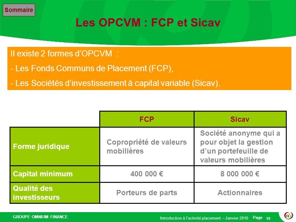 GROUPE OMNIUM FINANCE Introduction à lactivité placement – Janvier 2010 Page 19 Les OPCVM : FCP et Sicav Il existe 2 formes dOPCVM : - Les Fonds Commu