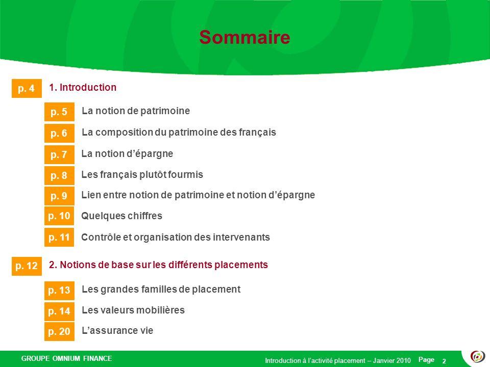 GROUPE OMNIUM FINANCE Introduction à lactivité placement – Janvier 2010 Page 2 Sommaire 1. Introduction p. 4 La notion de patrimoine p. 5 La compositi