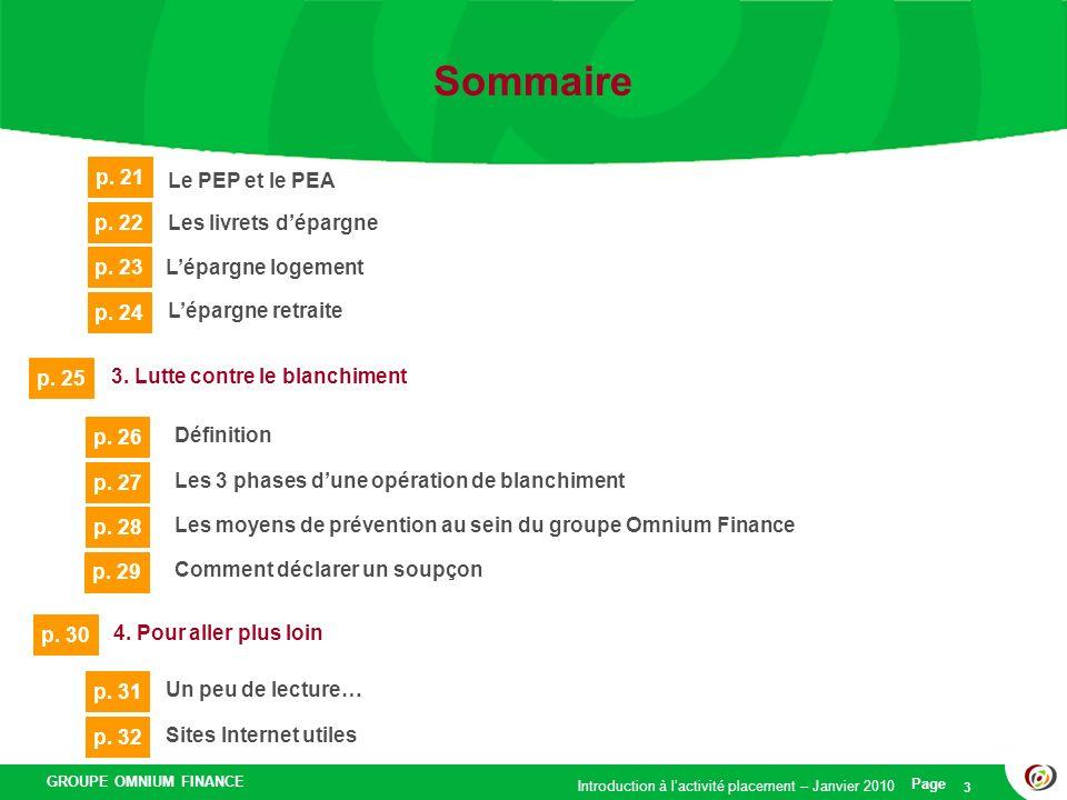 GROUPE OMNIUM FINANCE Introduction à lactivité placement – Janvier 2010 Page 3 Sommaire 3. Lutte contre le blanchiment p. 25 Définition p. 26 Les 3 ph