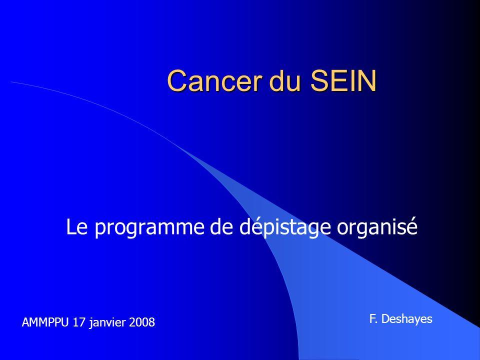 Cancer du SEIN Le programme de dépistage organisé AMMPPU 17 janvier 2008 F. Deshayes
