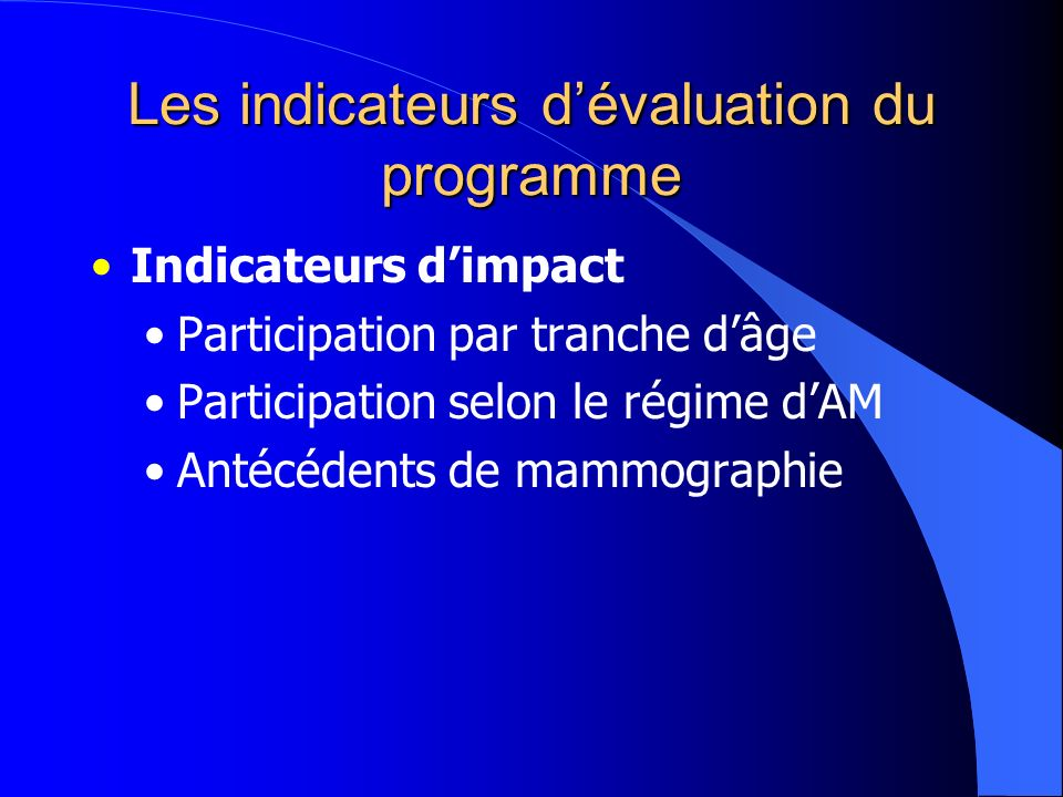 Les indicateurs dévaluation du programme Indicateurs dimpact Participation par tranche dâge Participation selon le régime dAM Antécédents de mammographie