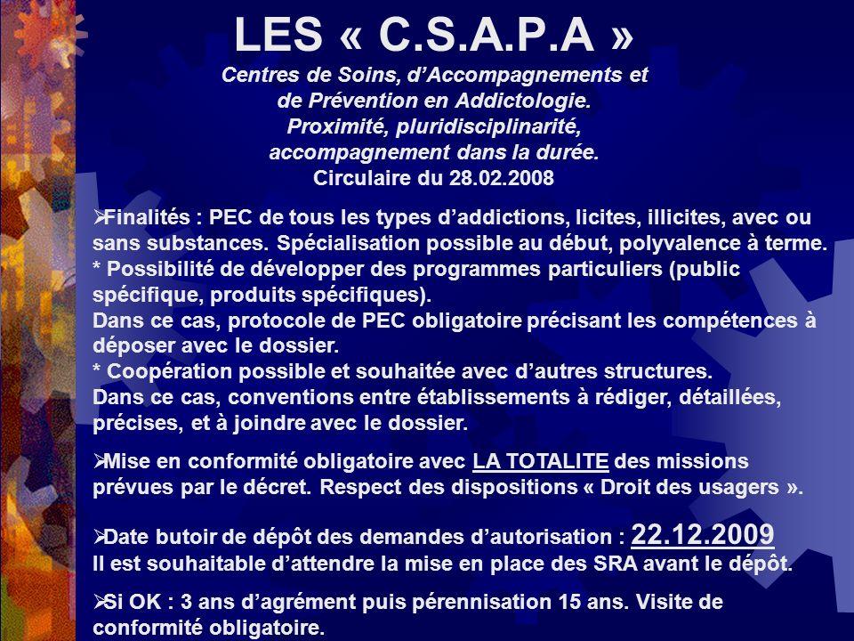 LES « C.S.A.P.A » Centres de Soins, dAccompagnements et de Prévention en Addictologie. Proximité, pluridisciplinarité, accompagnement dans la durée. C