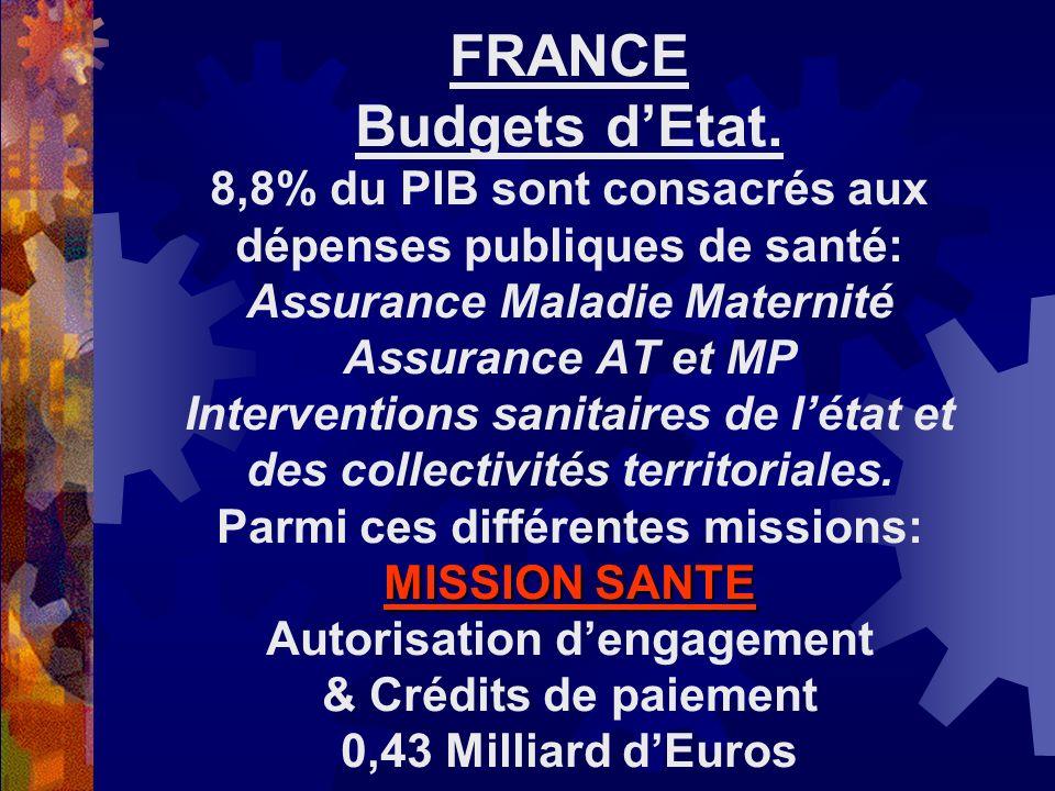 MISSION SANTE FRANCE Budgets dEtat. 8,8% du PIB sont consacrés aux dépenses publiques de santé: Assurance Maladie Maternité Assurance AT et MP Interve