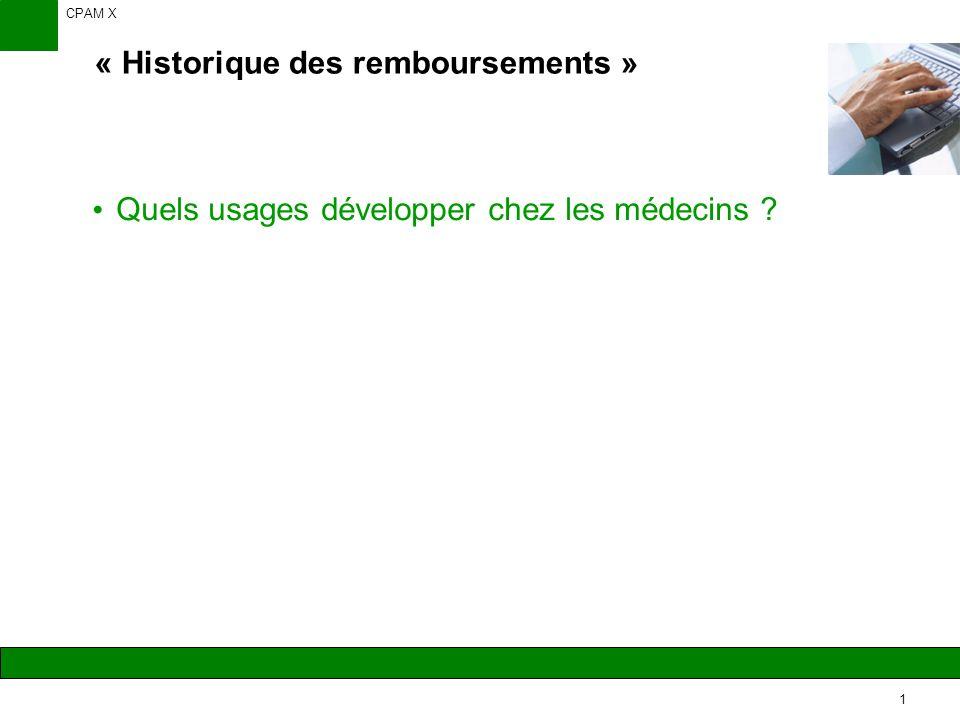 CPAM X 1 Quels usages développer chez les médecins « Historique des remboursements »