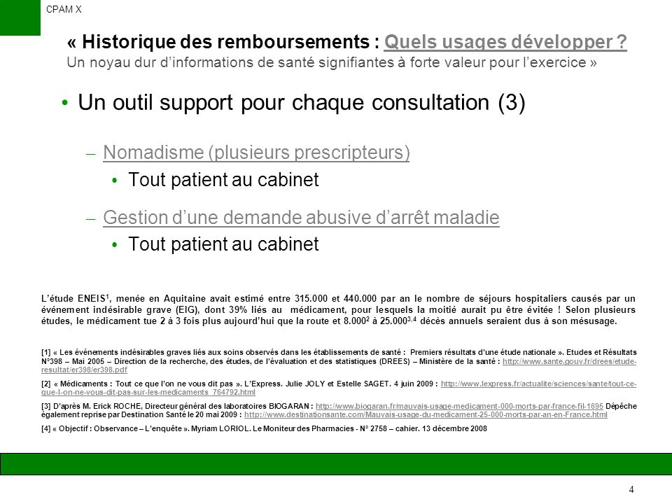 CPAM X 4 « Historique des remboursements : Quels usages développer .