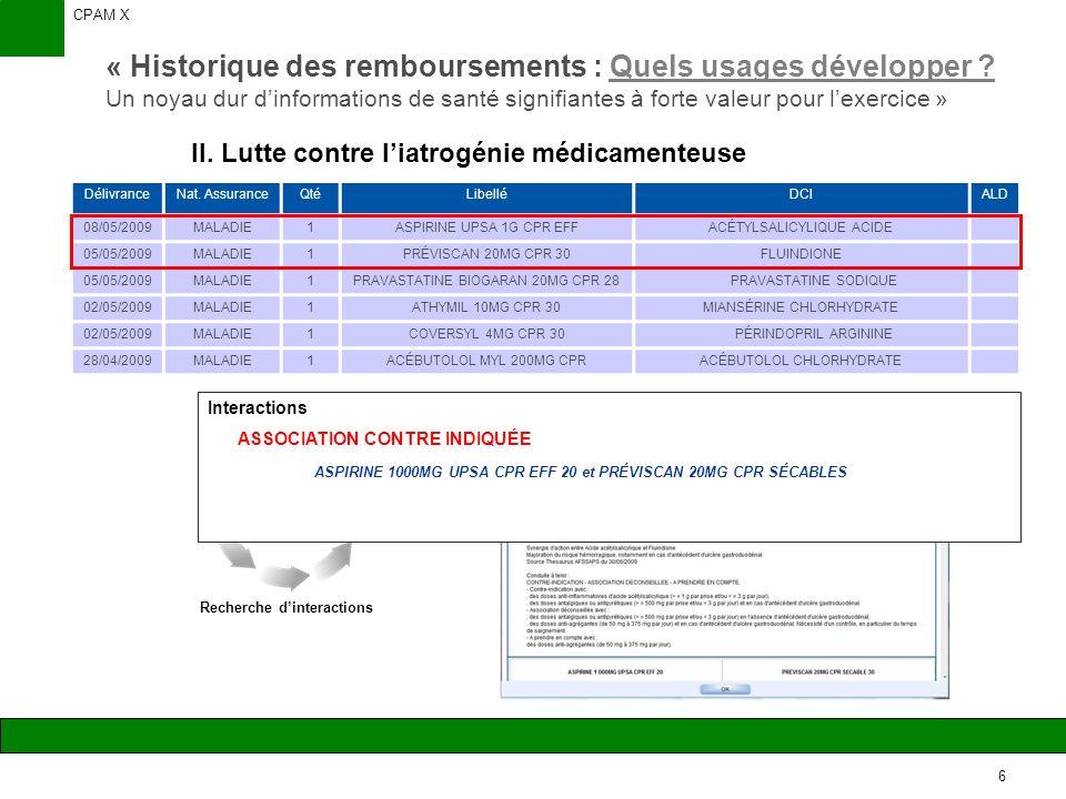 CPAM X 6 « Historique des remboursements : Quels usages développer .