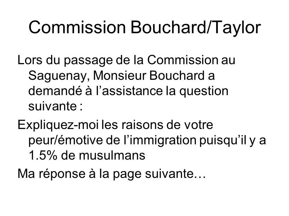 Commission Bouchard/Taylor Lors du passage de la Commission au Saguenay, Monsieur Bouchard a demandé à lassistance la question suivante : Expliquez-mo