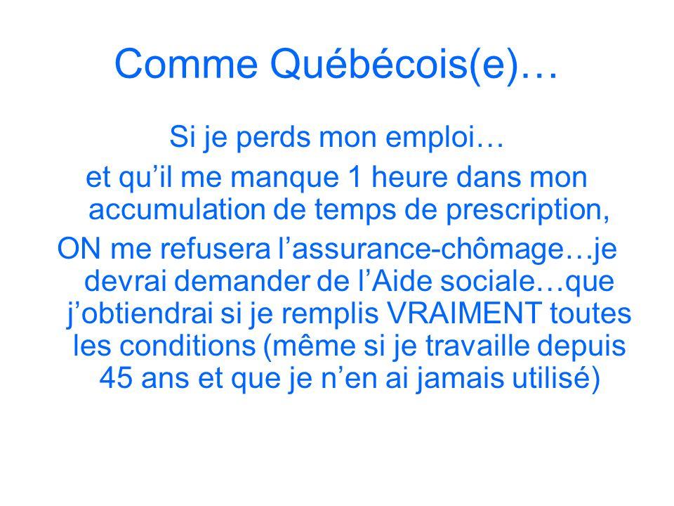 Comme Québécois(e)… Si je perds mon emploi… et quil me manque 1 heure dans mon accumulation de temps de prescription, ON me refusera lassurance-chômag