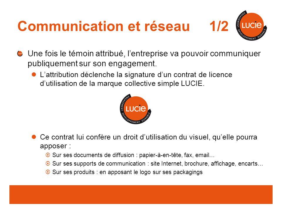 Communication et réseau 1/2 Une fois le témoin attribué, lentreprise va pouvoir communiquer publiquement sur son engagement.