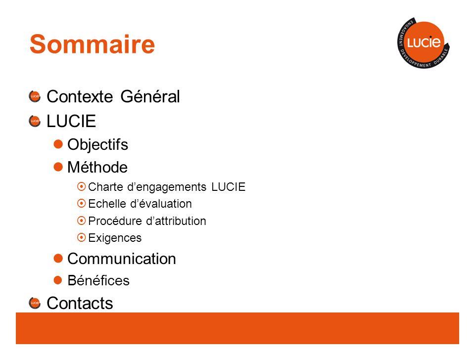 Sommaire Contexte Général LUCIE Objectifs Méthode Charte dengagements LUCIE Echelle dévaluation Procédure dattribution Exigences Communication Bénéfices Contacts