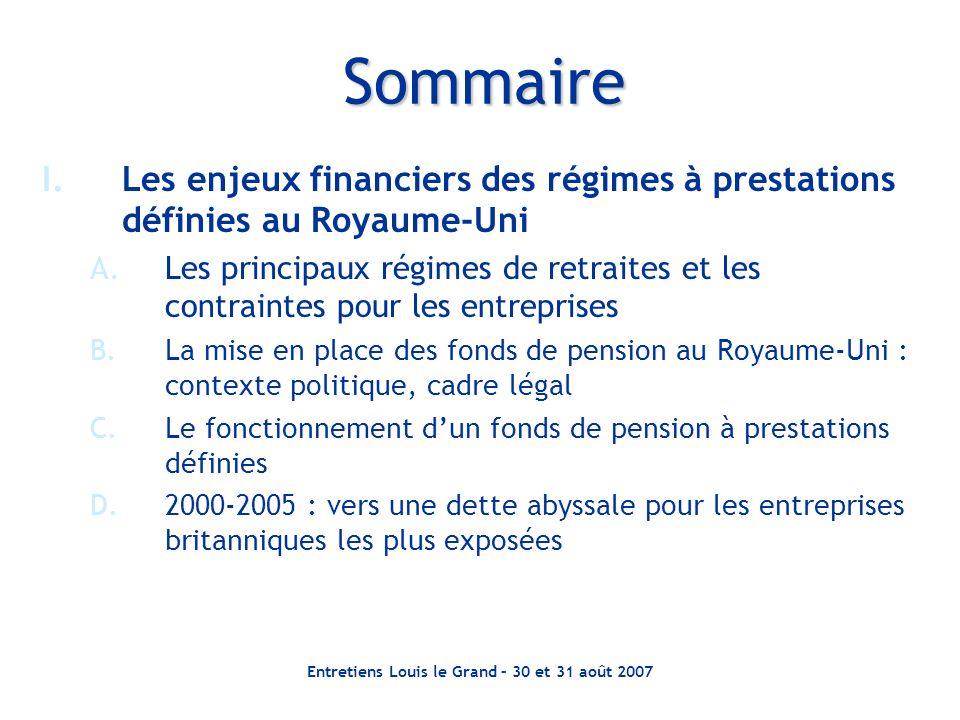 Entretiens Louis le Grand – 30 et 31 août 2007 Sommaire I.Les enjeux financiers des régimes à prestations définies au Royaume-Uni A.Les principaux rég