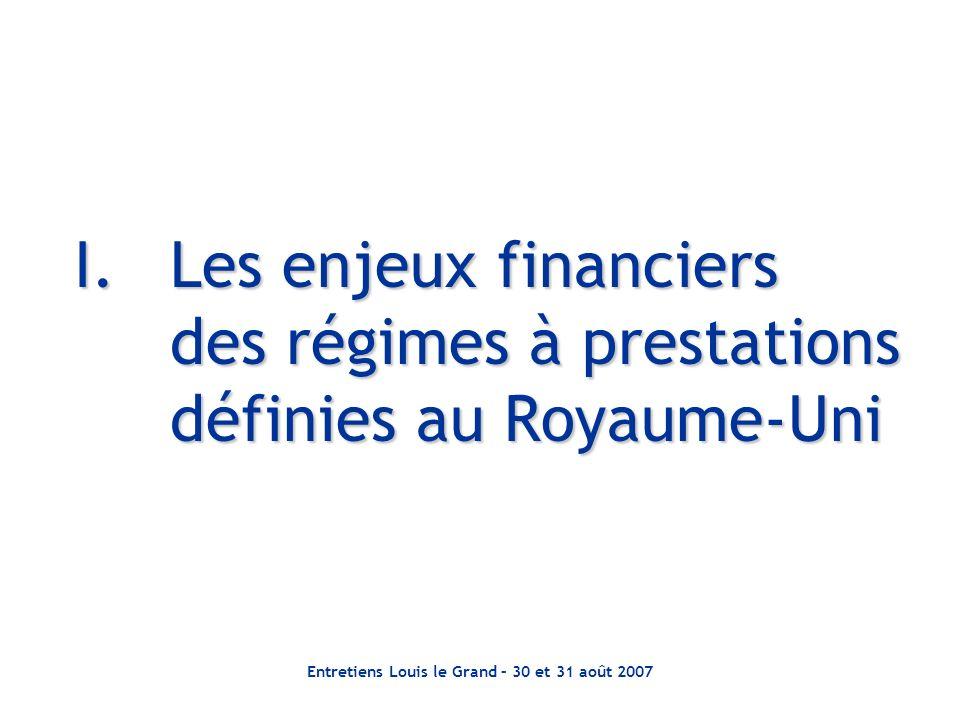 Entretiens Louis le Grand – 30 et 31 août 2007 I.Les enjeux financiers des régimes à prestations définies au Royaume-Uni