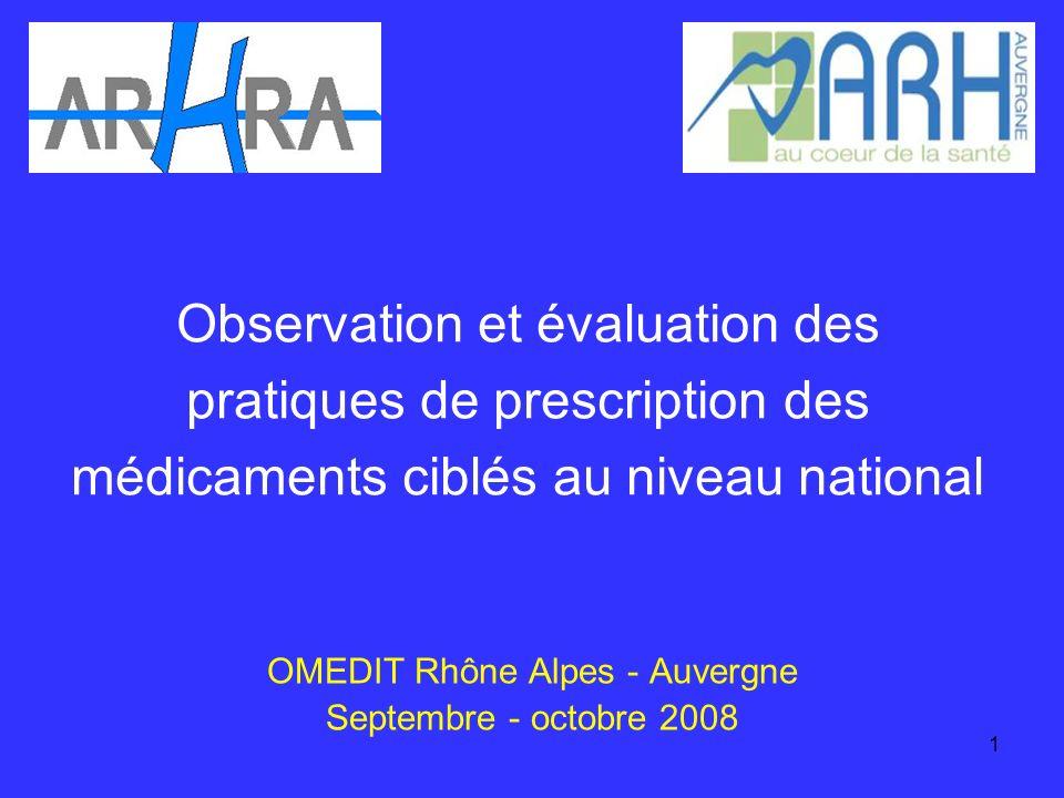 1 Observation et évaluation des pratiques de prescription des médicaments ciblés au niveau national OMEDIT Rhône Alpes - Auvergne Septembre - octobre 2008
