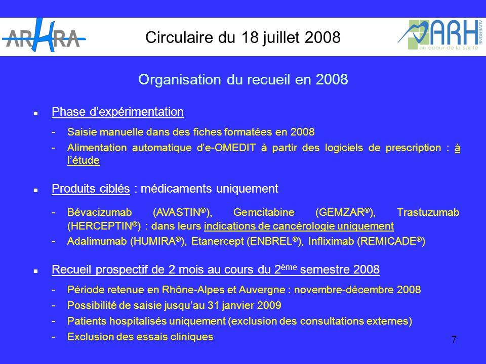 7 Circulaire du 18 juillet 2008 Phase dexpérimentation -Saisie manuelle dans des fiches formatées en 2008 -Alimentation automatique de-OMEDIT à partir des logiciels de prescription : à létude Produits ciblés : médicaments uniquement -Bévacizumab (AVASTIN ® ), Gemcitabine (GEMZAR ® ), Trastuzumab (HERCEPTIN ® ) : dans leurs indications de cancérologie uniquement -Adalimumab (HUMIRA ® ), Etanercept (ENBREL ® ), Infliximab (REMICADE ® ) Recueil prospectif de 2 mois au cours du 2 ème semestre 2008 -Période retenue en Rhône-Alpes et Auvergne : novembre-décembre 2008 - Possibilité de saisie jusquau 31 janvier 2009 -Patients hospitalisés uniquement (exclusion des consultations externes) -Exclusion des essais cliniques Organisation du recueil en 2008