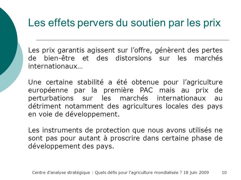 Centre d'analyse stratégique : Quels défis pour l'agriculture mondialisée ? 18 juin 200910 Les effets pervers du soutien par les prix Les prix garanti