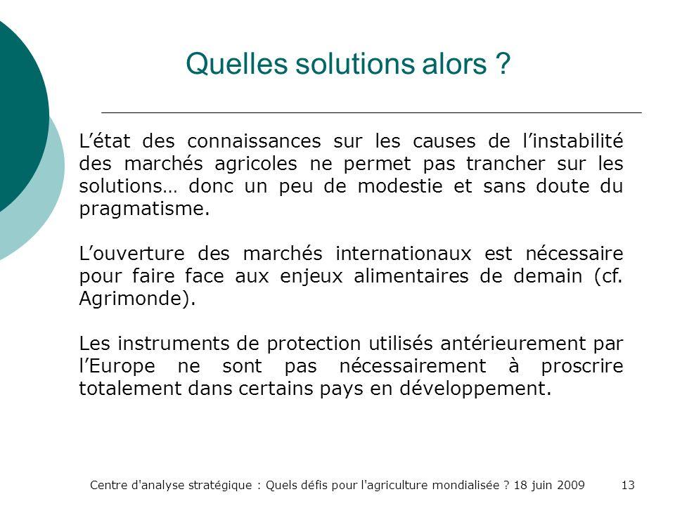 Centre d'analyse stratégique : Quels défis pour l'agriculture mondialisée ? 18 juin 200913 Quelles solutions alors ? Létat des connaissances sur les c