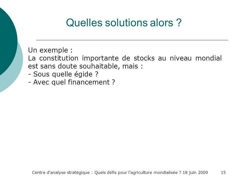 Centre d'analyse stratégique : Quels défis pour l'agriculture mondialisée ? 18 juin 200915 Quelles solutions alors ? Un exemple : La constitution impo