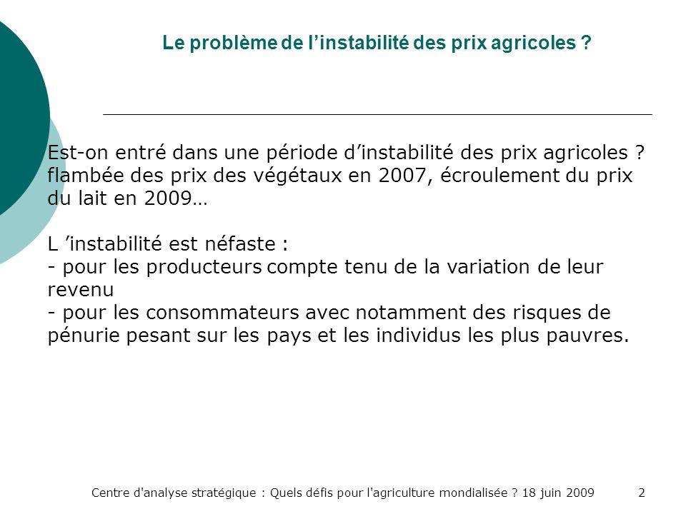 Centre d'analyse stratégique : Quels défis pour l'agriculture mondialisée ? 18 juin 20092 Le problème de linstabilité des prix agricoles ? Est-on entr