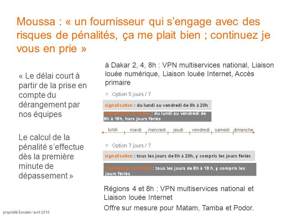 propriété Sonatel / avril 2010 Moussa : « un fournisseur qui sengage avec des risques de pénalités, ça me plait bien ; continuez je vous en prie » « Le délai court à partir de la prise en compte du dérangement par nos équipes Le calcul de la pénalité seffectue dès la première minute de dépassement » à Dakar 2, 4, 8h : VPN multiservices national, Liaison louée numérique, Liaison louée Internet, Accès primaire Régions 4 et 8h : VPN multiservices national et Liaison louée Internet Offre sur mesure pour Matam, Tamba et Podor.