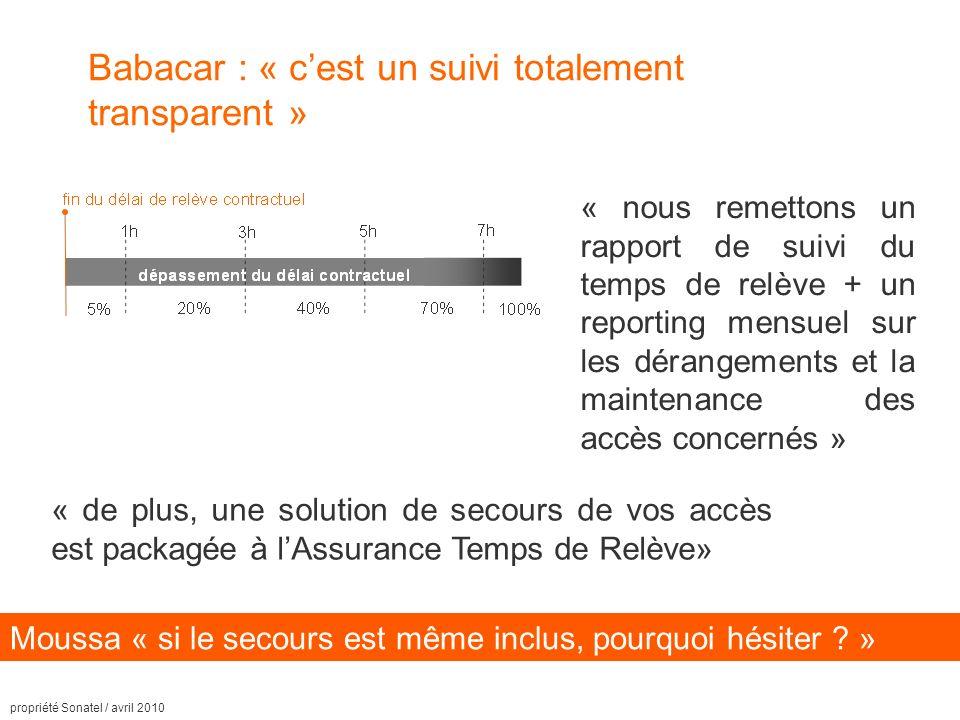 propriété Sonatel / avril 2010 Babacar : « cest un suivi totalement transparent » « nous remettons un rapport de suivi du temps de relève + un reporting mensuel sur les dérangements et la maintenance des accès concernés » Moussa « si le secours est même inclus, pourquoi hésiter .