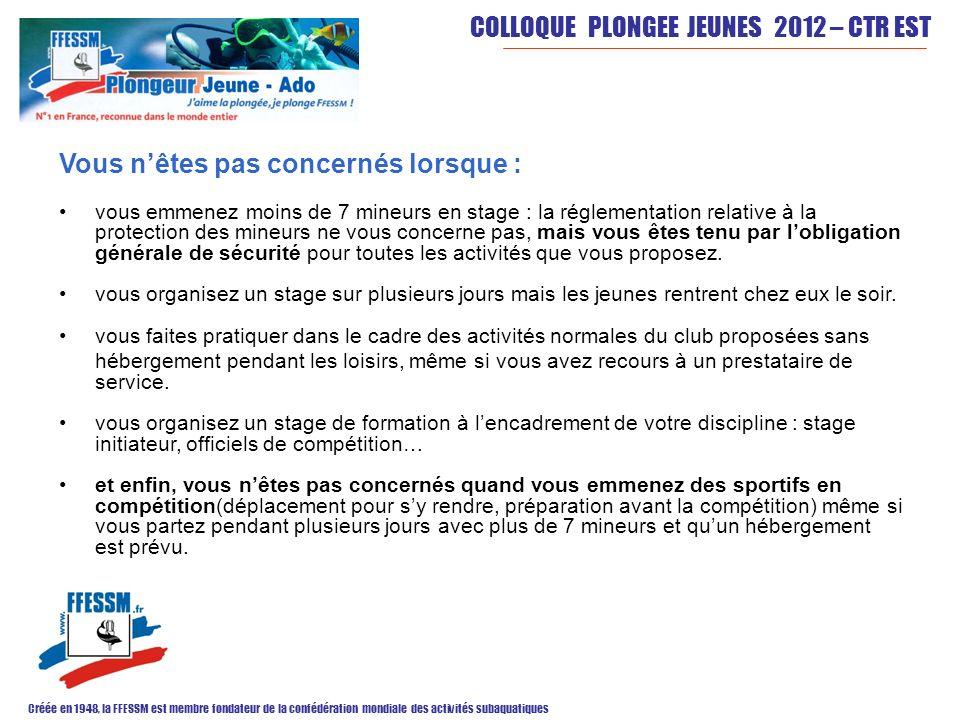 COLLOQUE PLONGEE JEUNES 2012 – CTR EST Créée en 1948, la FFESSM est membre fondateur de la confédération mondiale des activités subaquatiques Vous nêt