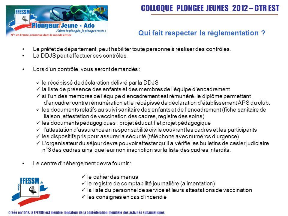COLLOQUE PLONGEE JEUNES 2012 – CTR EST Créée en 1948, la FFESSM est membre fondateur de la confédération mondiale des activités subaquatiques Qui fait
