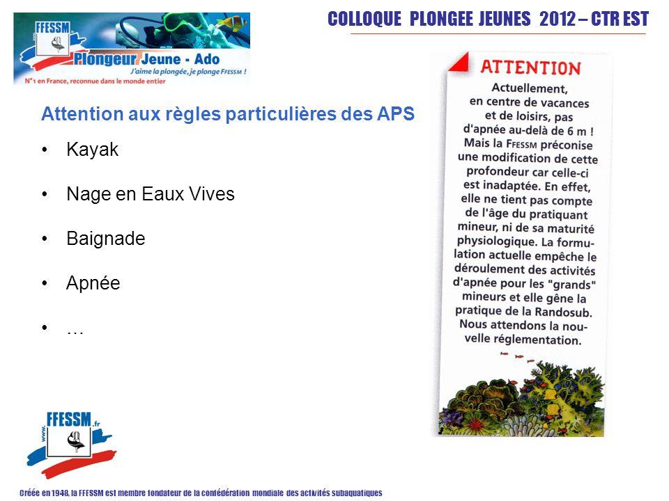 COLLOQUE PLONGEE JEUNES 2012 – CTR EST Créée en 1948, la FFESSM est membre fondateur de la confédération mondiale des activités subaquatiques Attentio