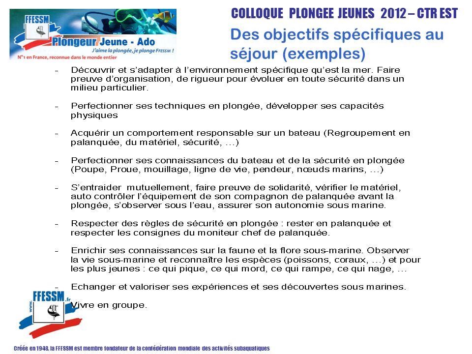 COLLOQUE PLONGEE JEUNES 2012 – CTR EST Créée en 1948, la FFESSM est membre fondateur de la confédération mondiale des activités subaquatiques Des obje