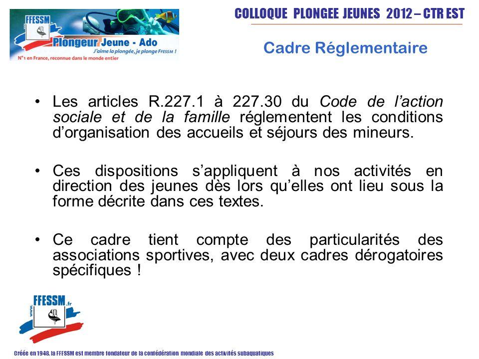COLLOQUE PLONGEE JEUNES 2012 – CTR EST Créée en 1948, la FFESSM est membre fondateur de la confédération mondiale des activités subaquatiques Cadre Ré