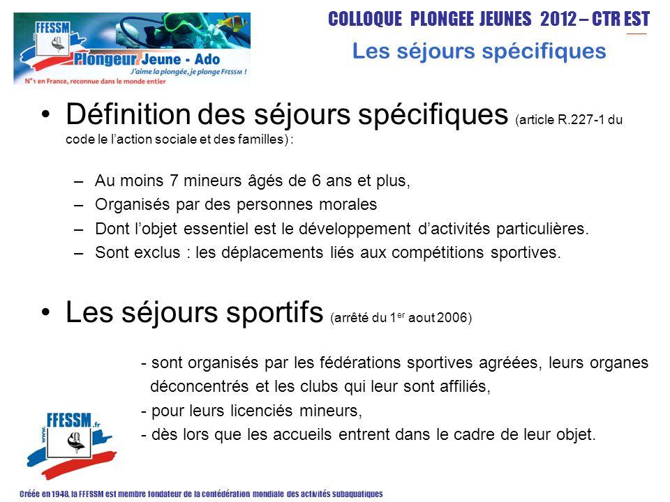 COLLOQUE PLONGEE JEUNES 2012 – CTR EST Créée en 1948, la FFESSM est membre fondateur de la confédération mondiale des activités subaquatiques Quelques pistes pour déterminer des objectifs éducatifs