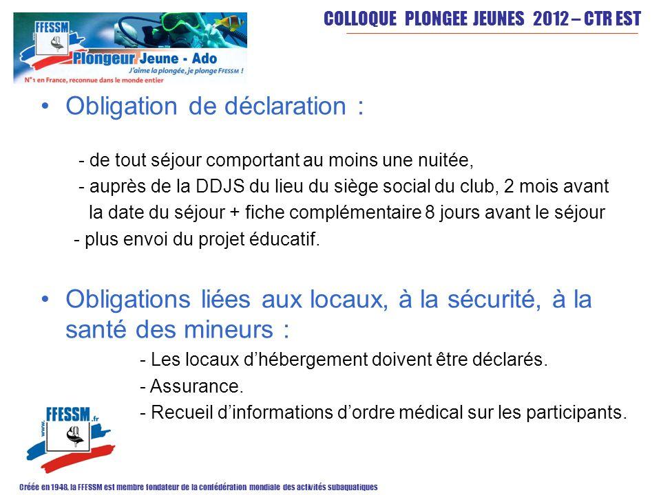 COLLOQUE PLONGEE JEUNES 2012 – CTR EST Créée en 1948, la FFESSM est membre fondateur de la confédération mondiale des activités subaquatiques Obligati