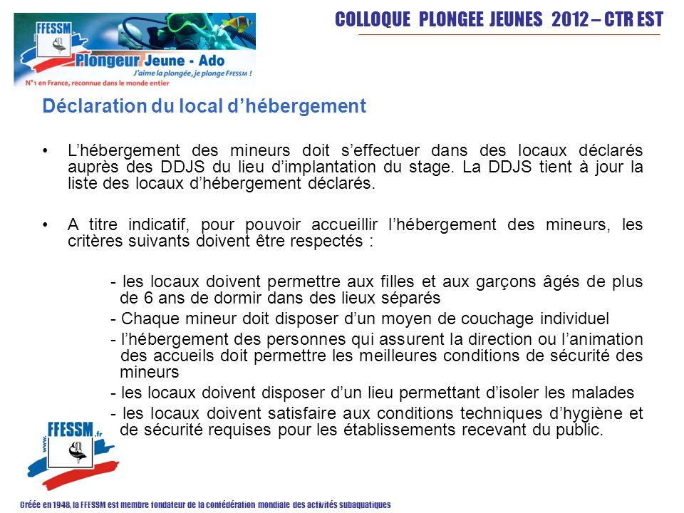 COLLOQUE PLONGEE JEUNES 2012 – CTR EST Créée en 1948, la FFESSM est membre fondateur de la confédération mondiale des activités subaquatiques Déclarat