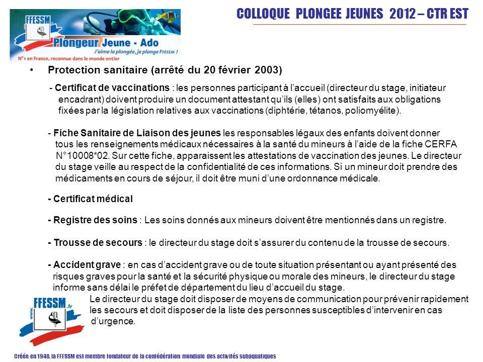 COLLOQUE PLONGEE JEUNES 2012 – CTR EST Créée en 1948, la FFESSM est membre fondateur de la confédération mondiale des activités subaquatiques Encadrement : - une personne majeure est désignée par lorganisateur comme directeur du séjour.
